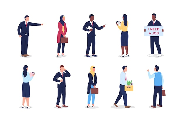 Unemployed flat color vector faceless character set. boss firing worker. work resignation. dismissed employees isolated cartoon illustration for web graphic design and animation collection