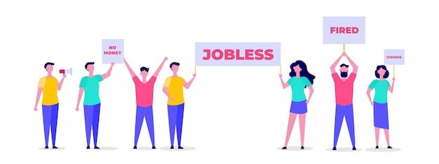 失業者。失業と従業員の雇用削減の概念。ベクトルイラスト