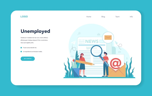 Unemployed web banner or landing page