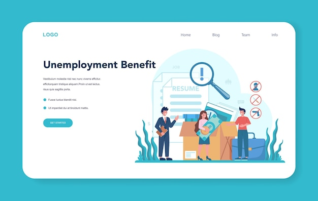 Unemployment benefit web banner or landing page