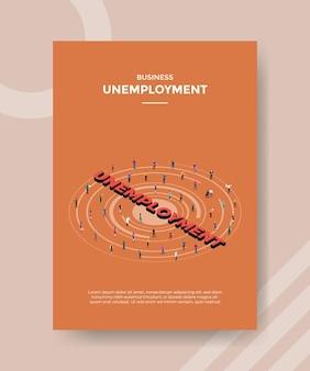 アイソメトリックスタイルのイラストで印刷するための失業コンセプトチラシ