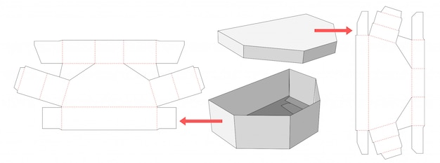 Unequal hexagon box and lid die cut template design