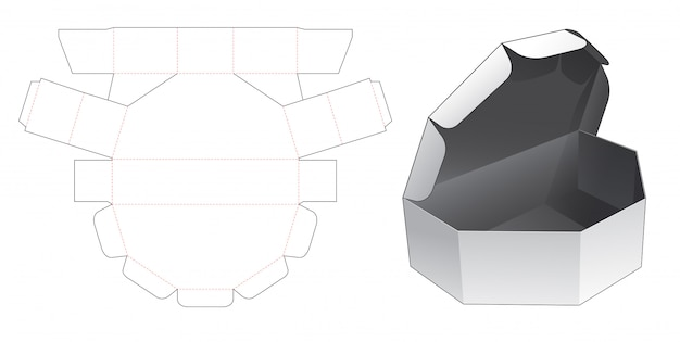 Unequal hexagon box with window die cut template