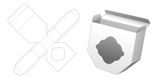 Unequal hexagonal box with curve window die cut template design