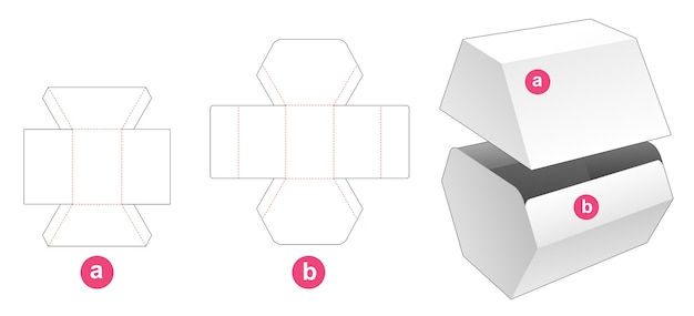Unequal hexagonal shaped box with lid die cut template