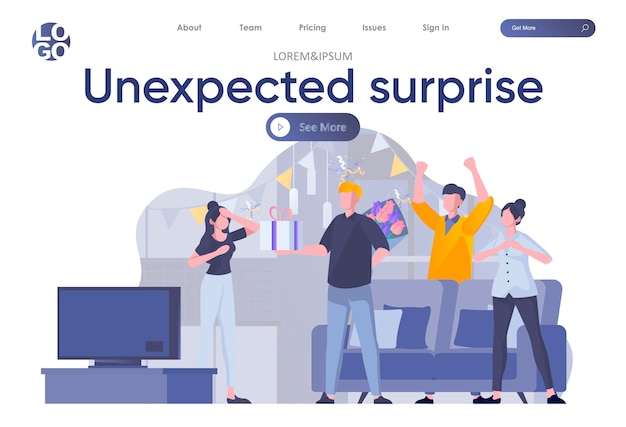 Unexpected surprise landing page with header. friends celebrating birthday or anniversary and giving gift to girl scene. birthday congratulation with present and flowers flat illustration.