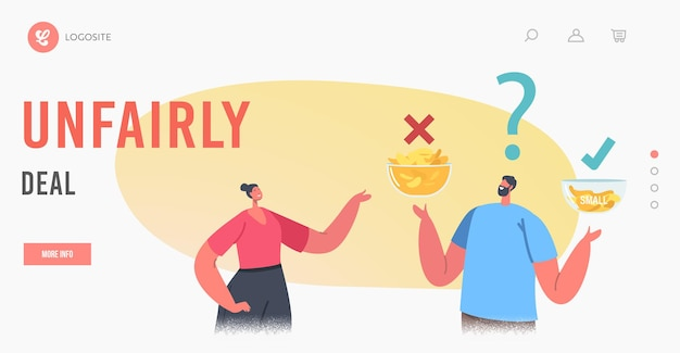 Unfairly deal landing page template. characters compare big and small bowls with chips. people perform fake packaging marketing tricks with product package retail in store. cartoon vector illustration