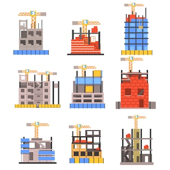 Unfinished modern building construction set with no people and lifting crane set of icons