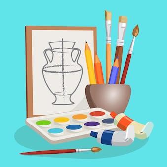 さまざまなブラシ、カラフルな鉛筆、水彩絵の具の横になっているセットが付いた小さなボウルの近くの花瓶の未完成の写真。写真を作るための芸術的なものの漫画イラスト