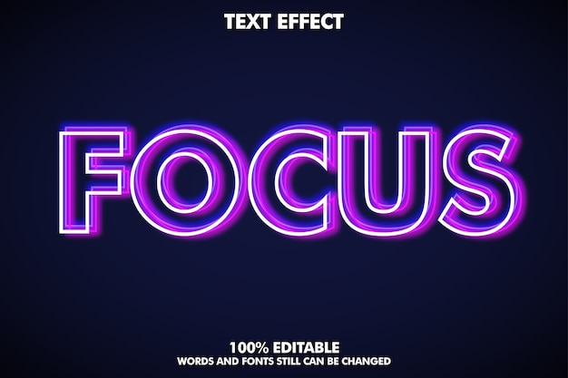 Unfocus shiny outline text effect