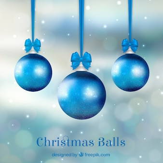 Unfocused background of blue baubles