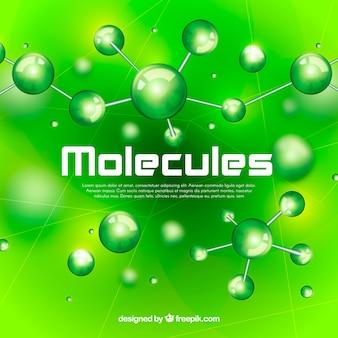 分子のある緑色の背景