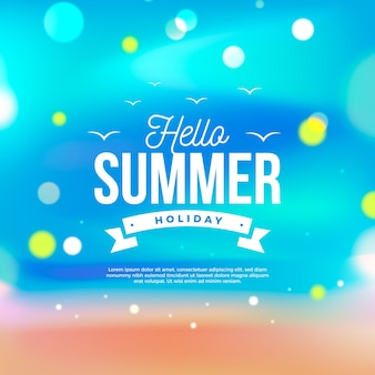 Unfocused illustration with hello summer lettering