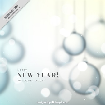 Unfocused new year background with christmas balls