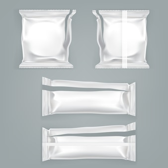 Unfolded food plastic package vector  template