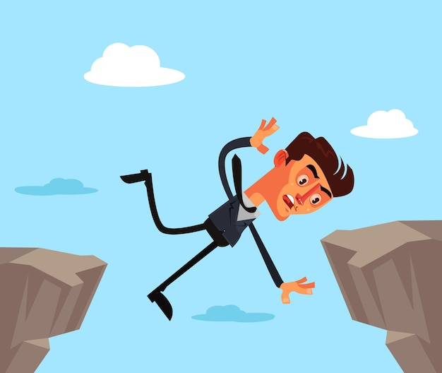 Unfortunate businessman office worker character jump and fall down.