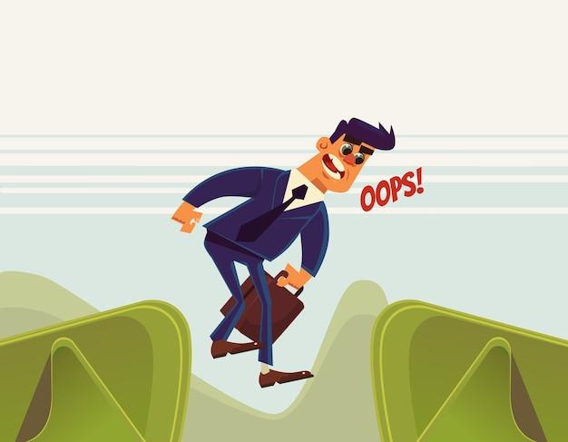 Несчастный бизнесмен офисный работник прыжок персонажа