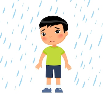 Unhappy boy under rain