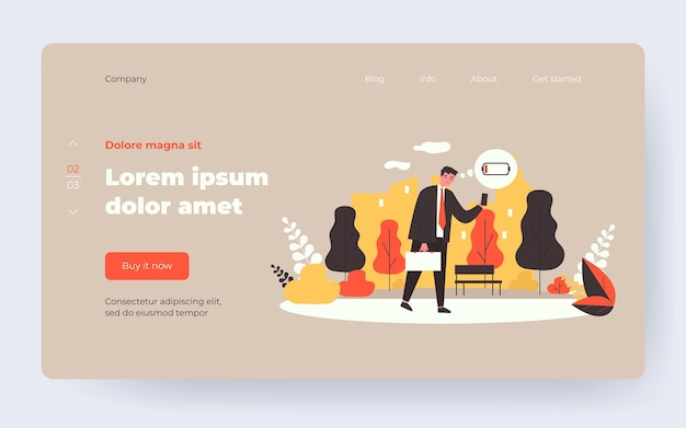Unhappy businessman walking with cellphone out of battery. man with low energy level flat vector illustration. burnout, charging concept for banner, website design or landing web page