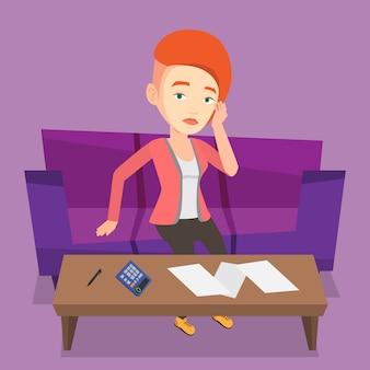 Unhappy caucasian woman accounting home bills.