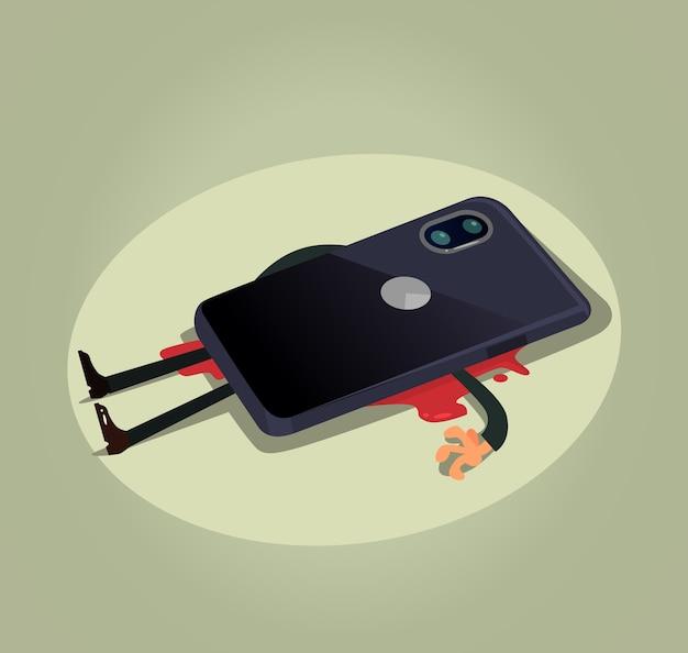 Unhappy dead man user character laying under big smart phone. modern technology gadget dependance slavery
