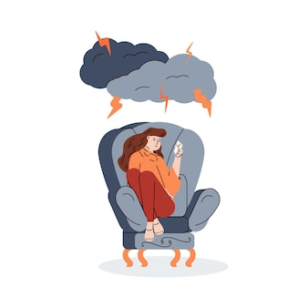 Unhappy depressed woman in armchair flat cartoon vector illustration isolated