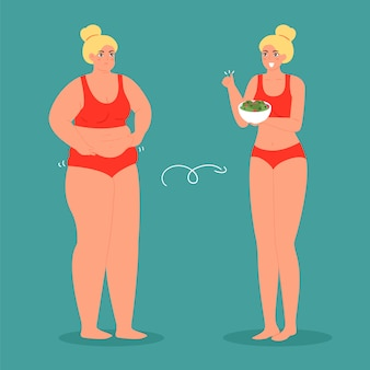 Unhappy fat and happy slim woman, before and after diet and weight loss  illustration. concept loss weight, healthy woman and overweight obesity woman.
