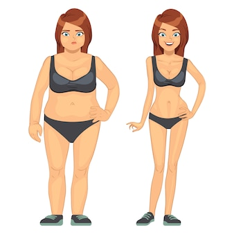 Unhappy fat and happy slim woman