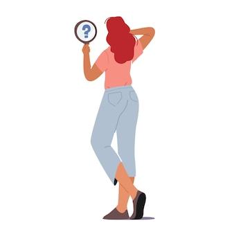 불행한 여성 캐릭터는 물음표와 함께 거울에 자신을 봐