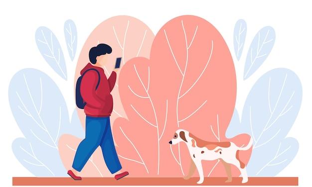 路上で不幸な孤独な点線の子犬