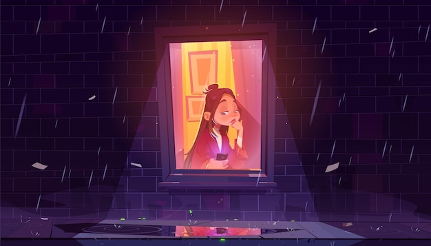 비오는 밤에 집에서 창으로 스마트 폰으로 불행 한 외로운 소녀.