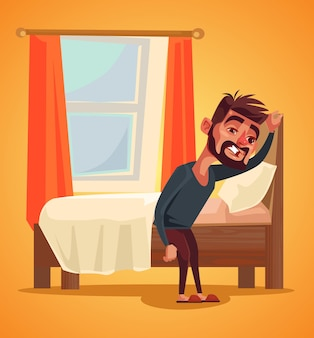 Unhappy man character waking up morning insomnia concept, flat cartoon illustration