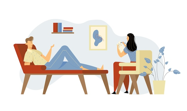 専門家の助けのための心理学者の任命でソファに横たわっている不幸な男。医師、専門家が心の健康問題について患者と話し、ノートブックの漫画のフラットイラストで書く