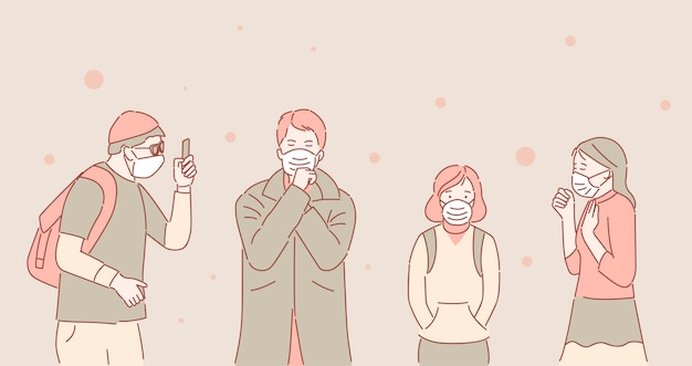 Unhappy people in protective face masks because of air pollution cartoon outline illustration.