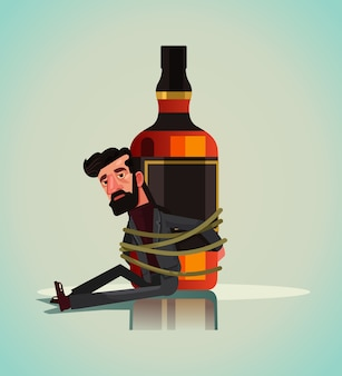 Unhappy sad alcoholic man character chained tied to whiskey vodka beer drink bottle.