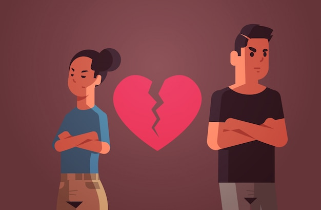 Unhappy sad couple with broken heart in depression having relationship problem