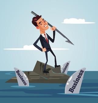 비즈니스 상어에 둘러싸인 불행한 슬픈 회사원 사업가 캐릭터 잡고 작살과 공격