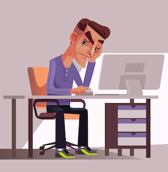 Unhappy sad tired man office worker manager sitting at table illustration