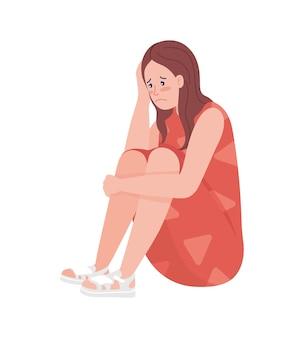 Unhappy teenager girl semi flat color vector character