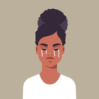 泣いている不幸な恐怖の少女は、女性の概念の肖像画のベクトル図に対する暴力と攻撃を停止します