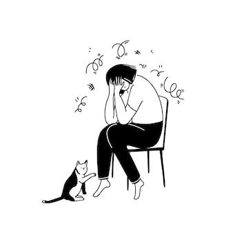 椅子に座って、手で顔を覆って泣いている不幸な女性不安とうつ病の概念