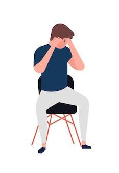 불행 한 젊은 남자의 자에 앉아. 우울한 소년. 우울증, 슬픔, 슬픔, 고통, 문제의 남성 캐릭터. 정신 장애, 질병, 심리적 문제. 플랫 만화 벡터 일러스트 레이 션.