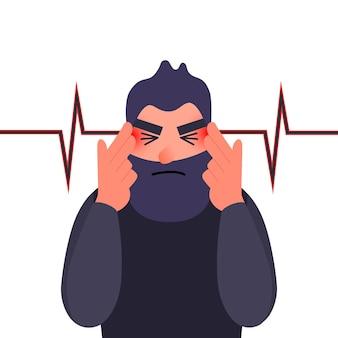 Несчастный молодой человек с сильной головной болью