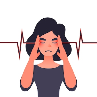 Unhappy young woman with severe headache migraine health problems and pain head