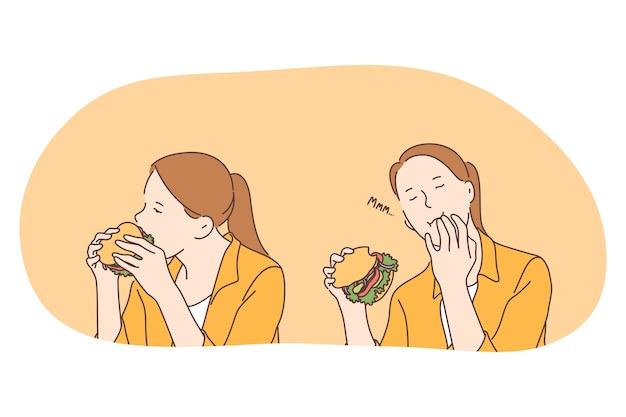 건강에 해로운 식사, 빠르고 정크 푸드, 칼로리 개념.