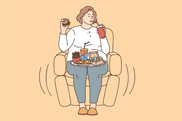 Unhealthy eating, fatness and overeating concept. young fat overweight woman sitting in armchair and eating fats fries donuts drinking lemonade vector illustration