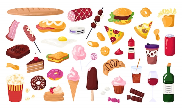 Unhealthy food for street cafe, fast food icons set with hamburger, sausage, sandwich,french fries and donut, soda, pizza   illustration. unhealthy food snacks.