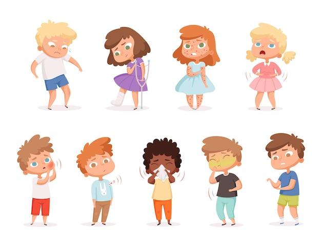 건강에 해로운 아이들. 아픈 사람들이 기침 질병 문제 건강 구토 그림 세트.