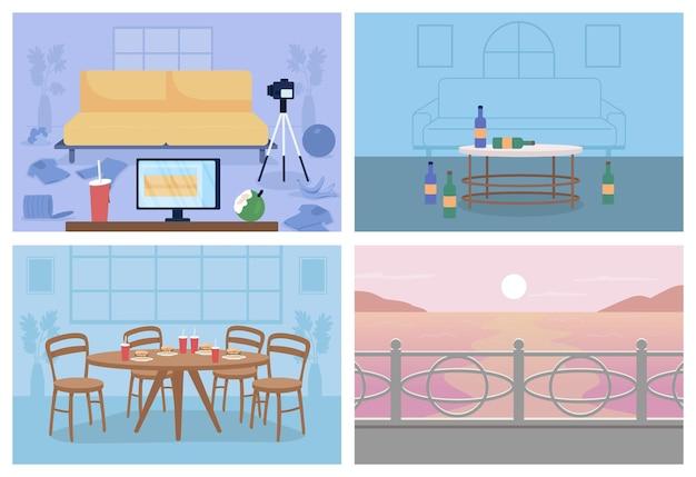 Набор плоских цветных векторных иллюстраций нездорового образа жизни. грязный дом. стол с нездоровой пищей. различный 2d-мультфильм в помещении и на открытом воздухе с декором на фоновой коллекции