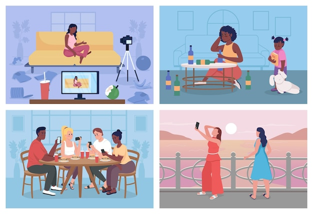 Unhealthy lifestyle flat color vector illustration set. bad habits. students with digital addiction. people with problems 2d cartoon characters with interior and outdoor on background collection